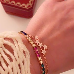 New South Moon Under Rose Gold Pave Star Bracelet